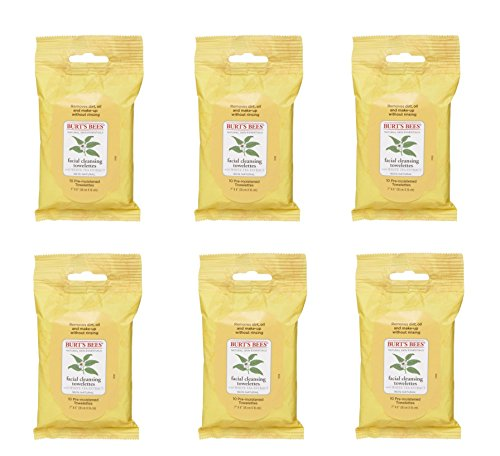Burt's Bees Sensitive Facial Cleansing Towelettes with White Tea Extract - 6 Packs of 10 (60 (Facial Cleansing Towelettes)