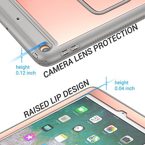 New iPad 2017 9.7 inch Case, YOUMAKER Heavy Duty Kickstand Shockproof Protective Case Cover for Apple New iPad 9.7 inch (2017 Version) with Built-in Screen Protector (Rose Gold/Gray) by YOUMAKER (Image #5)
