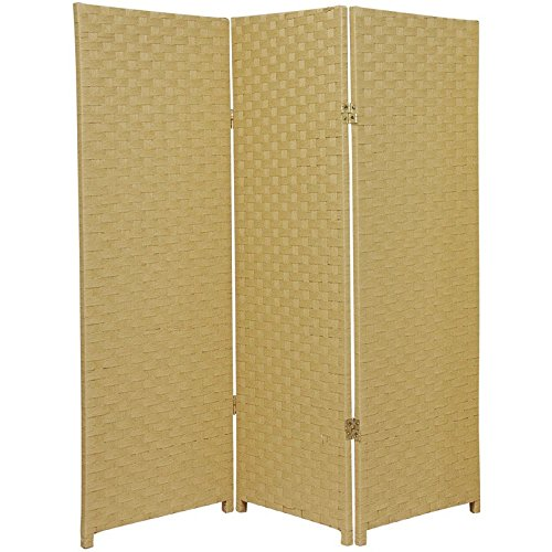 Oriental Furniture 4 ft. Tall Woven Fiber Room Divider - Dark Beige - 3 (Accordian Panel)