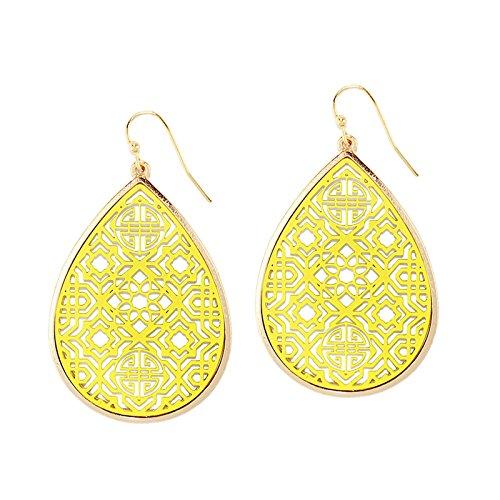 Pomina Coated Filigree Teardrop Drop Earrings (Yellow)