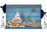Gladbuy 5X3FT Ocean Sailing Backdrop Starfish Sailboat Shells Old Tree Branch White Fishing Net Blue Painted Stripes Wood Board Vinyl Photography Background Kids Baby Photo Studio Props MP630