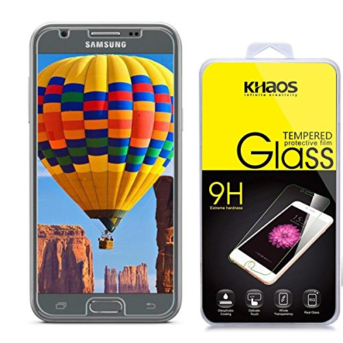 Khaos for Samsung Galaxy J3 Eclipse HD Clear Tempered Glass Screen Protector with Lifetime Replacement Warranty