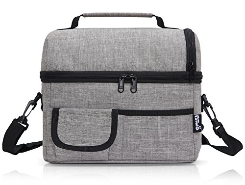 PuTwo Lunch Bag 8L Insulated Lunch Bag Lunch Box Lunch Bags for Women Lunch Bag for Men Cooler Bag with YKK Zip and Adjustable Shoulder Strap Lunch Tote for Kids Lunch Box Bento Lunch Pail - Grey - Zip Top Fashion Tote