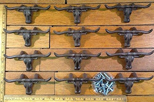 Longhorn Handles - 12 LONGHORN STEER DRAWER HANDLES PULLS Brown 4-1/2 cast iron Western skull Horns