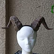 Professional cosplay Large 11 inch adult size 3D printed lightweight Goat Maleficent-style horned headband