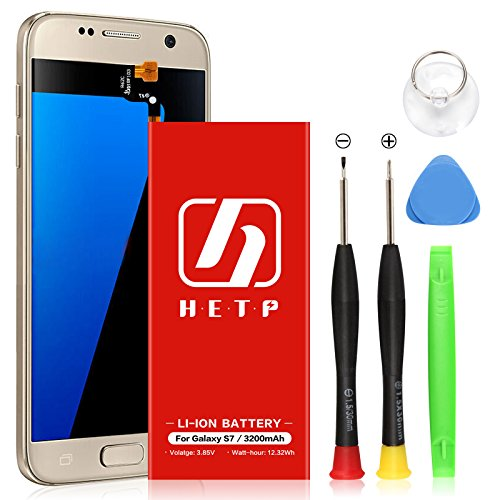 Galaxy S7 Battery | UPGRADED HETP 3200mAh Li-Polymer Replacement Battery for Samsung Galaxy S7 SM-G930 Part# EB-BG930ABE, G930V, G930A, G930T, G930P with Free Screwdriver Tool