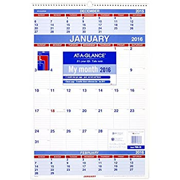 Amazon.com : AT-A-GLANCE 3-Month Wall Calendar 2016, 12 Months ...