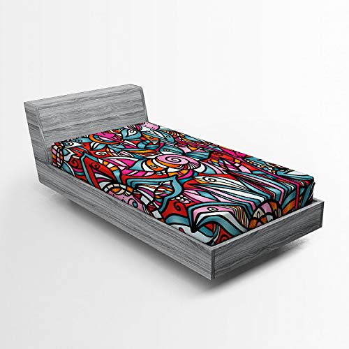 - Ambesonne Abstract Fitted Sheet, Colorful Florals Sunflower Mosaic Curl Ornaments Stained Glass Inspired Design, Soft Decorative Fabric Bedding All-Round Elastic Pocket, Twin Size, Multicolor