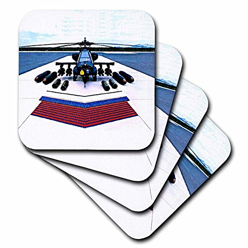 3dRose CST_544_3 Apache Helicopter Ceramic Tile Coasters, Set of 4