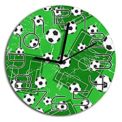 wojuedehuidamai6 Frameless Wall Clock 10 inch Silent LORVIES Background with Football Gate and Soccer  Great Decorative for Home Office Bedroom