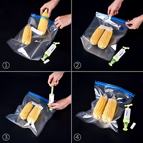 Large Product Image of Sous Vide Bags Kit for Anova Cookers - Forsous 20 BPA Free Food Vacuum Sealed Bags, 1 Hand Pump, 2 Bag Sealing Clips and 4 Sous Vide Clips, Reusable & Easy to Use, Practical for Food Storage & Cooking