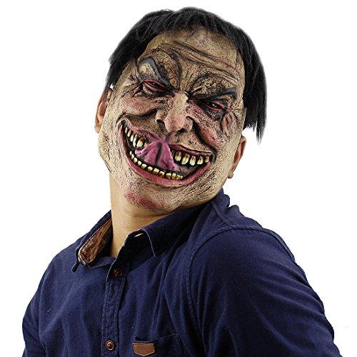 [Halloween Latex Head masks Gruesome Zombie Costume Cosplay Props Funny Man Mask] (Ring Sadako Costume)