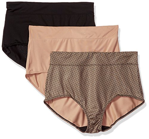 Warner's Women's Blissful Benefits No Muffin Top 3 Pack Brief Panty, Black/Toasted Almond/lace dot Print, XL ()