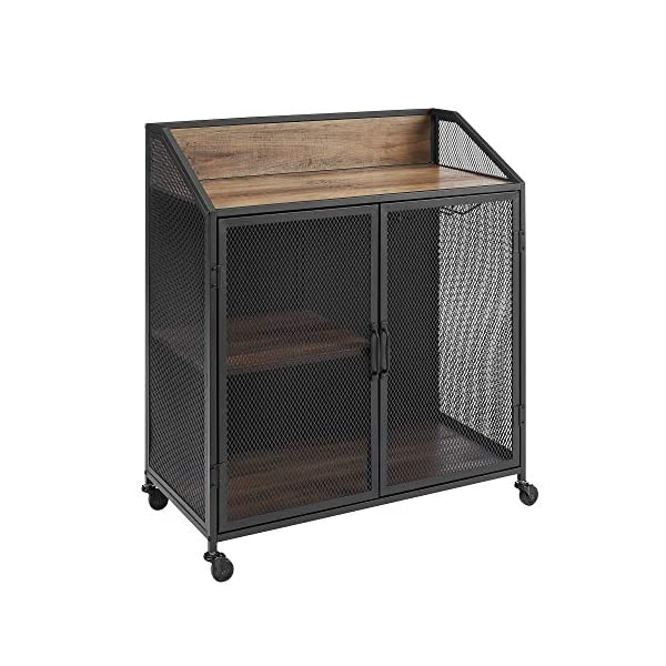 Walker Edison Malcomb Urban Industrial Metal Mesh Double Door Rolling Bar Cabinet, 33 Inch, Rustic Oak