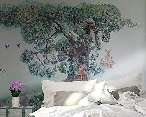 Jiahuade-3d Wallpaper Boy Girl Room Big Tree Rabbit Squirrel Bird Child Bedroom Background Wall painting-128cmX100cm