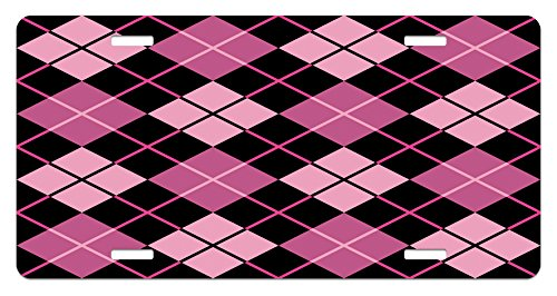 Checkered License Plate by Ambesonne, Crosswise Striped Mosaic Pattern Squares Retro Style Feminine Design, High Gloss Aluminum Novelty Plate, 5.88 L X 11.88 W Inches, Pink Pale Pink Black (Pattern Squares Retro)
