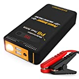 Energen 800A Peak Portable Car Jump Starter Phone Power Bank Auto Battery Charger Pack Booster with QC 3.0 Smart Charging Port, LED Screen and LED Flashlight (Black)