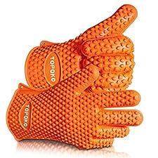 2017 Hot Sale BBQ Grilling Gloves Oven Mitts Gloves for Cooking Baking Barbecue Potholder (orange)