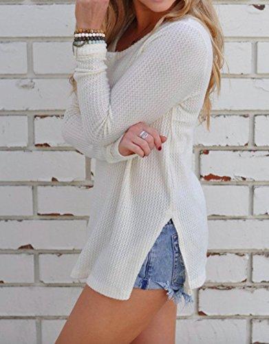 Tops Blouse Pulls Femme Blanc Manches Sweater Haut Tricots Chemisiers Jumper Simple Jeune Fashion Hiver Casual Automne Mode avec Longues Chandail Fendues X00qft