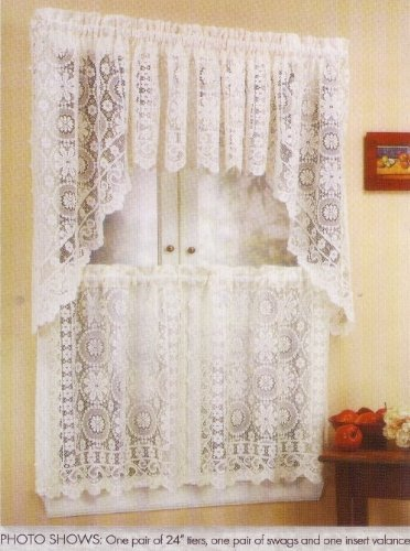 LORRAINE HOME FASHIONS Hopewell Lace Kitchen Curtain - 24 Tier (pr) - Cream