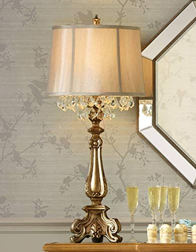Dubois Traditional Console Table Lamp Antique Gold Crystal Beading Drum Shade for Living Room Family Bedroom Bedside - Barnes and Ivy