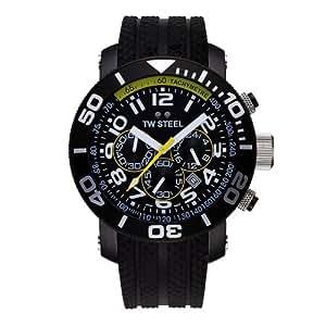 TW Steel Diver TW-74 - Reloj unisex de cuarzo, correa de goma color negro (con cronómetro)