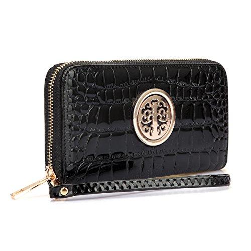 Women Long Wallet Lady Patent Leather Wristlet Purse Zipper Organizer Card Cellphone Holder Black
