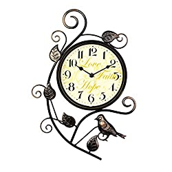 Nclon Vintage Wall Clock,Mute Silent Quiet European Wrought Iron Bedroom Accurate Clear Wall Clock 39cm