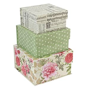 tri coastal pretty papers set of 3 square storage boxes. Black Bedroom Furniture Sets. Home Design Ideas