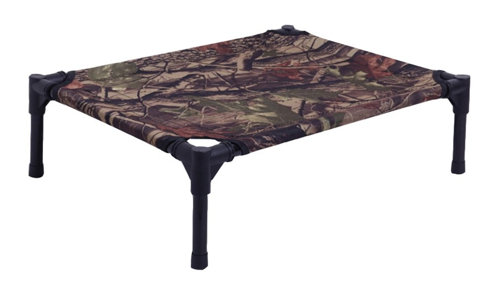 Camouflage(without mesh) M Camouflage(without mesh) M Pet Dog Breathable Elevated Steel Frame Portable Mesh Cot Bed (M, Camouflage(Without mesh))