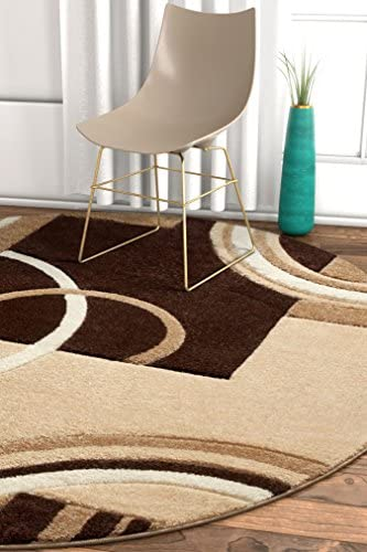 Galaxy Waves Ivory Brown Geometric Circles Ruby 5'3″ Round Well Woven Plush Area Rug 60012