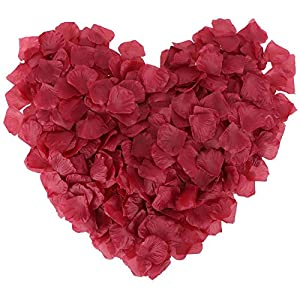 1000 Pcs Silk Artificial Rose Petals Wedding Party Decorations, Dark Burgundy 7