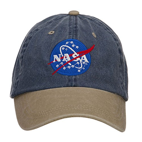 Navy Insignia Cap (E4hats NASA Insignia Embroidered Washed Two Tone Cap - Navy Khaki OSFM)
