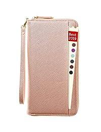 RFID Travel Wallet Passport Wallet for Women- Family Travel Document Holder Organizer (Rose Gold)