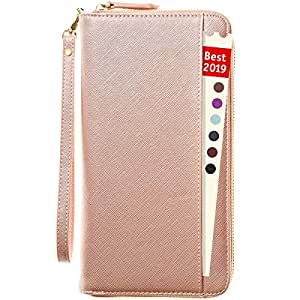 Travel Document Organizer - RFID Passport Wallet Case Family Holder Id Wristlet, 1 Rose Gold (Pink) - 43206-53358