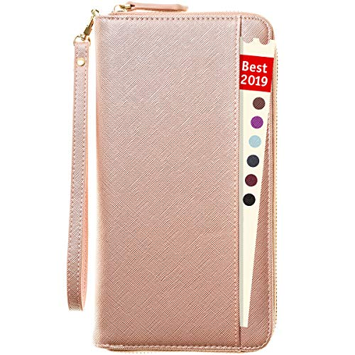 Travel Document Organizer - RFID Passport Wallet Case Family Holder Id Wristlet (Rose Gold)