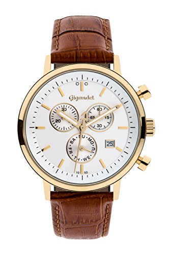 Gigandet Men's/Women's Quartz Watch Classico Chronograph Analog Leather Strap Gold Brown G6-005