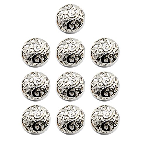 (Funcoo 10 pcs Hollow Metal Sewing Button - 25mm Antique Vintage Beautiful Suits Button Set for Blazer, Suits, Coat, Uniform, Jacket (Silver))