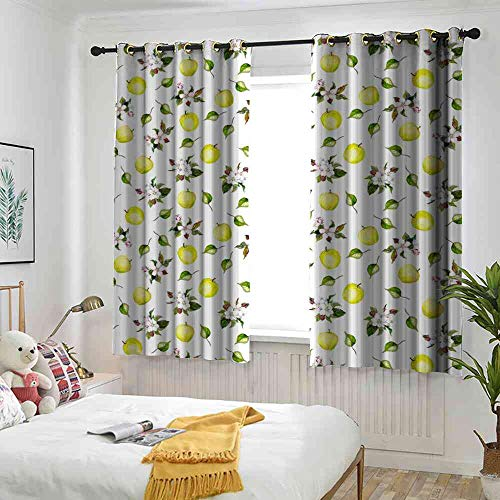 - Blackout Curtain Apple,Floral Design Aquarelle Paint Style Apple Cherry Flowers Blossom,Yellow Green Fern Green White Thermal Insulated Blackout Curtain, W63 x L45(160cm x 115cm)
