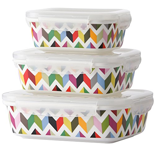 French Bull 3 Piece Porcelain Food Storage Container Set - Lunch, Airtight - Ziggy