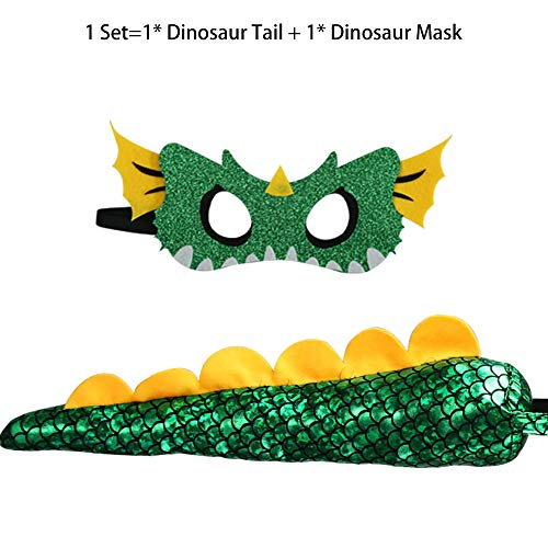 Kids Dinosaur Tail Costume with Mask for Boys Girls Dragon Dress-up Party Favors Green (Green) -