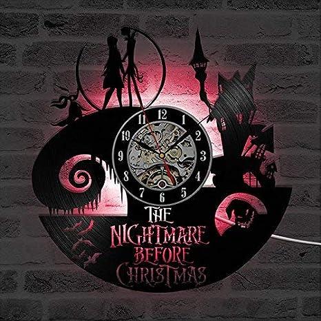 Reloj de Pared de Vinilo Exclusivo Reloj de Arte Creativo Regalo- Hecho a Mano DIY con LED 30CM Redondo - Pesadilla Antes de Navidad Jack y Sally Theme: ...