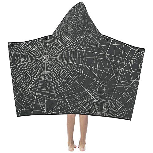 Lexav Halloween Black Grey Spider Web Soft Warm Cotton Blended Kids Dress Up Hooded Wearable Blanket Bath Towels Throw Wrap for Toddlers Child Girls Boys Size Home Travel Picnic Sleep Gifts Beach