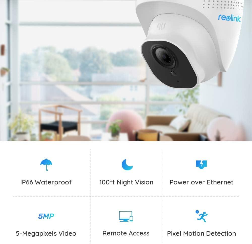 Reolink Cam/éra de S/écurit/é dExt/érieur PoE 5-M/égapixels HD,Vision Nocturne D/étection de Mouvement Vid/éo Surveillance avec Audio,RLC-420-5MP