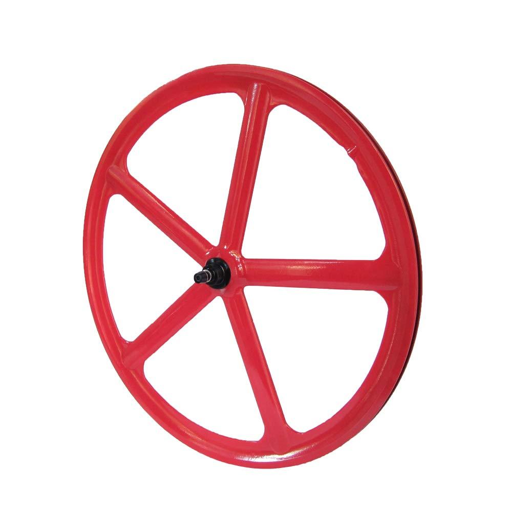 Laufradsatz Singlespeed Fixie 700C 28 Vorderrad – 5 Speichen - Leichtmetall - Rot