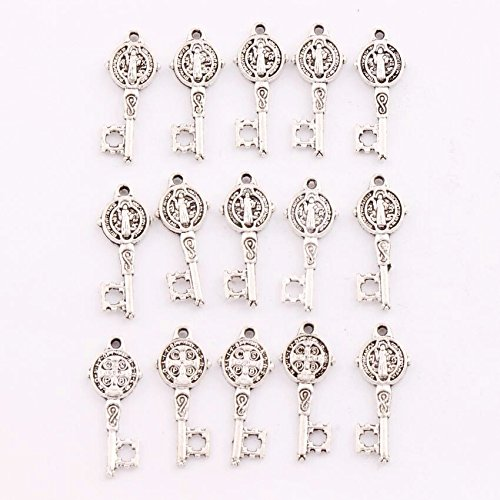 1.9 Mm Wall (45 pcs of Antique Silver Saint Benedict Medal Cross Key Religious Charm)