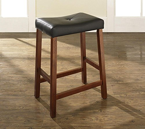 "Crosley Furniture Upholstered Saddle Seat Bar Stool with 24"""