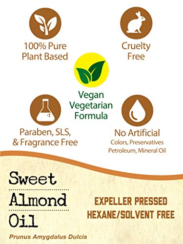 Horbaach Sweet Almond Oil 64 fl oz 100% Pure – for Hair, Face & Skin – Expeller Pressed – Vegetarian, Non-GMO by Horbäach (Image #4)