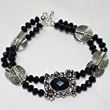 Black Pendant Bracelet|Silver plated slider/Rondell black glass beads/Flat lentil metal beads bracelet for women