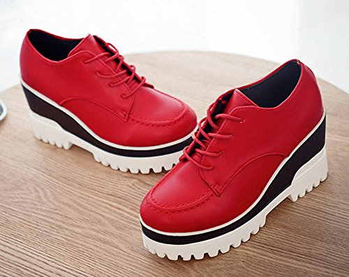 Round High Red Shoes Lace Hot Sneakers Toe Breathable Aisun Up Wedge Heels Platform Women's New ftaTwfpq